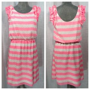 Lilly Pulitzer Neon Pink Stripe Ruffle Dress SZ M